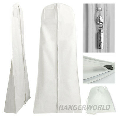 "White Showerproof Wedding Dress Cover Garment Clothes Gown Bag 72"" Hangerworld"