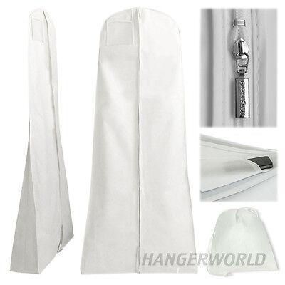 """White Showerproof Wedding Dress Cover Garment Clothes Gown Bag 72"""" Hangerworld"""