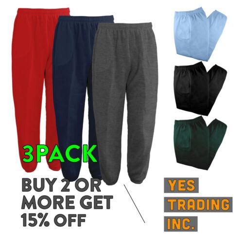 3 Pack Mens Womens Unisex Plain Sweatpants 3 Pocket Casual Joggers Fleece Pants