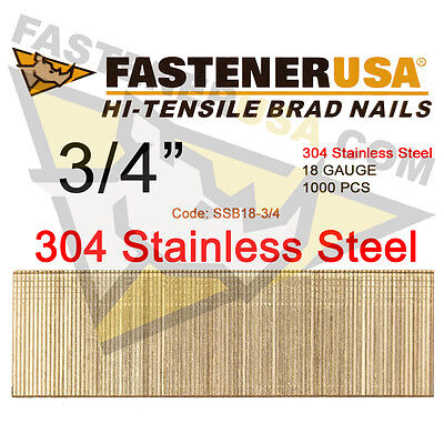 34 18 Gauge Straight Brad Finish Nails Stainless Steel 18 Ga 1000 Ct