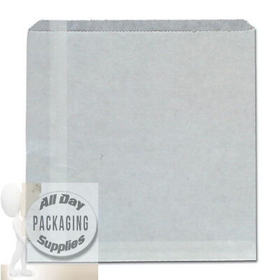 1000 LARGE WHITE GREASEPROOF PAPER BAGS SIZE 10 X 10