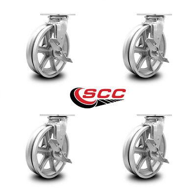 Scc 8 X 2 V Groove Semi Steel Wheel Swivel Casters Wbrakes - Set Of 4