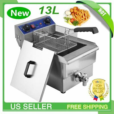 13l Commercial Restaurant Electric Deep Fryer Stainless Steel W Timer Drain Vp