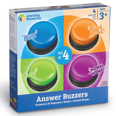Answer Quiz Buzzers Set of 4 by Learning Resources - Game Show Sound Buzzers - Game Buzzers