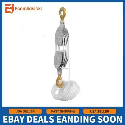 2 Ton Poly Rope Hoist Pulley Wheel Block And Tackle Puller Lift Tools Lifter