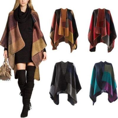 Women Scarf Patchwork Plaid Poncho Cape Wrap Shawl Blanket Cloaks Lattice Winter