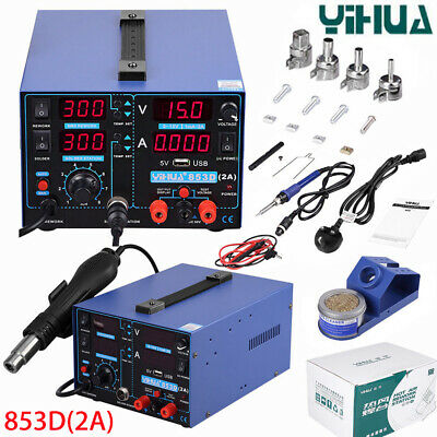 Yihua 853d 2a Soldering Station 4 In 1 Solder Iron Hot Air Gun Welding Tool 220v