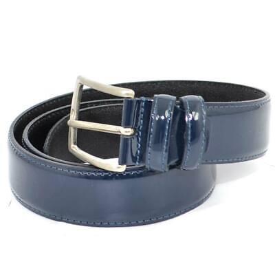 Cintura uomo blu vera pelle lucida doppio passante regolabile fibbia in acciaio