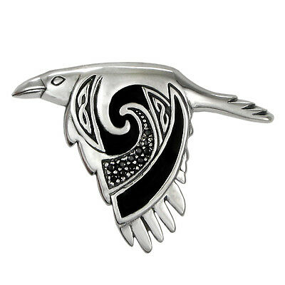 Sterling Silver Flying Celtic Knot Raven Pendant - Crow Bird Knotwork Jewelry