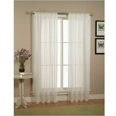 "2 Piece Solid White Sheer Window Curtains/drape/panels/treatment size 55""x84"""