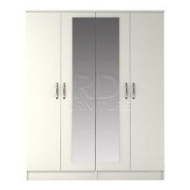 Classic 4 door mirrored robe white finish