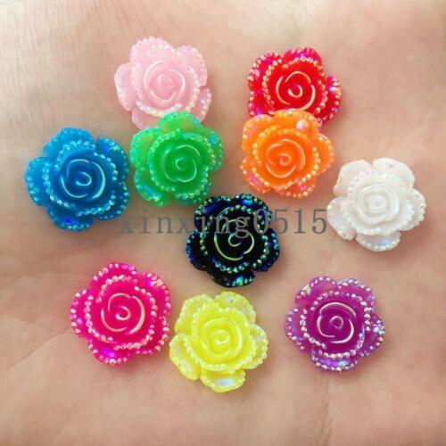 New 40Pcs 14mm AB resin Rose Flatback flower stone scrapbook wedding buttons DIY