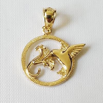 14k Yellow Gold HUMMINGBIRD Pendant / Charm, Made in USA 14k Gold Hummingbird Pendant