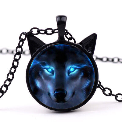 New Nordic Wiccan Wolf Necklace Wiccan Wolf Pendant Jewelry Necklace black - Wolf Pendant