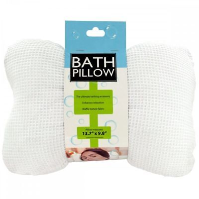 Deluxe Soft Cloth Bath Tub Pillow with Suction Cups for Comfort Neck & Back NEW