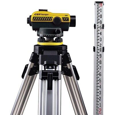 Cst Berger 55-slvp20nd 20x Auto Level W 8ft 10ths Rod Tripod Package