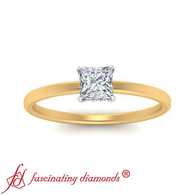 Womens Two Tone Hidden Halo Engagement Ring With 3/4 Carat Princess Cut Diamond 2