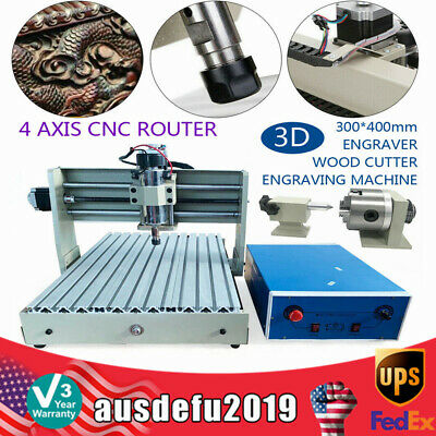 4 Axis 3040 Cnc Router Engraver Carving Woodworking Mill Drill Cutting Engraving