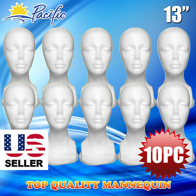 13 Styrofoam Foam Mannequin Manikin Head Display Wig Hat Glasses 10pc