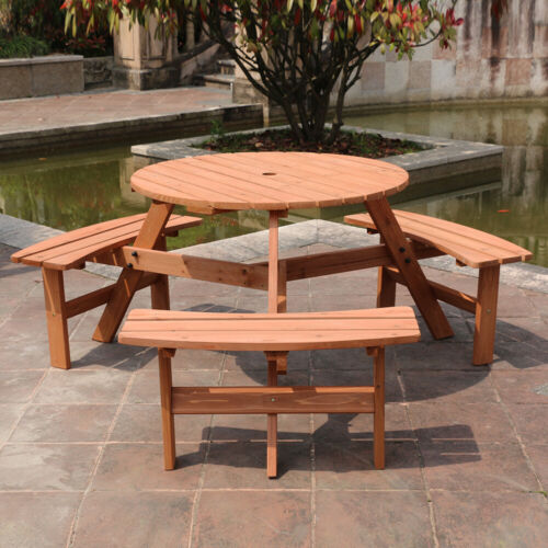 Garden Furniture - Wooden Outdoor Garden Furniture Set Round Table With 3 Benches Chairs Patio Set