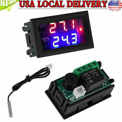 Digital Led Microcomputer Thermostat Controller Switch Temperature Sensor Dc 24v
