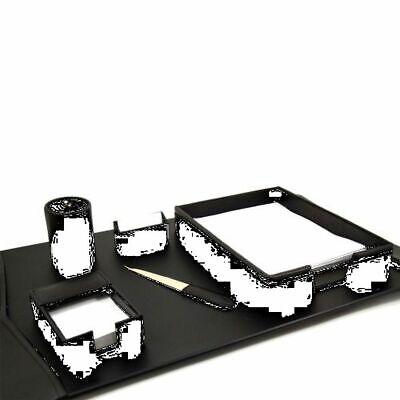 Bey Berk 6 Piece Black Leather Desk Set