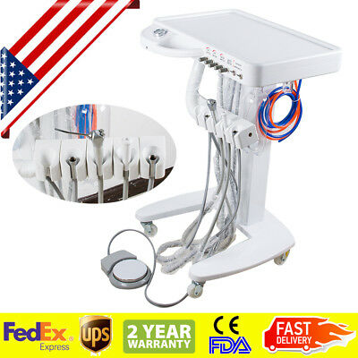 Portable Mobile Dental Delivery Unit System Cart Treatment Work Compressor 4hole