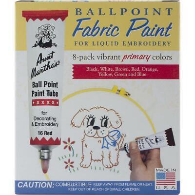 Aunt Martha's Ballpoint Paint Set of 8 Primary Colors 1oz. Tubes . (Aunt Marthas Ballpoint Paint Tubes)