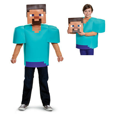 Mine Craft Halloween Costumes (Boys Minecraft Steve Classic Halloween)