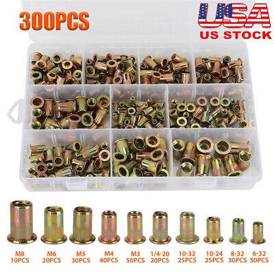 300 Pcs Zinc Steel Rivet Nut Kit Rivnut Nutsert Assort 150x Metric 150x Sae My