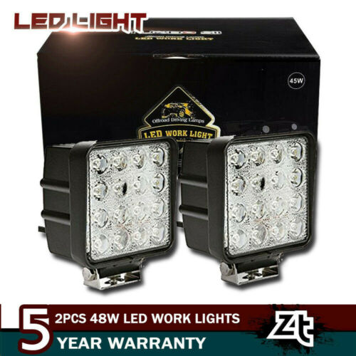 Pair 4Inch 48w CUBE Flood Beam Led Work Light Driving Fog Li