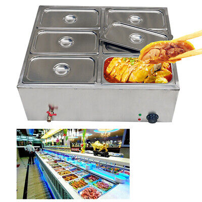6 Pan Hot Well Bain Marie Food Warmer 110v 850w Steam Table Steamer Restaurant