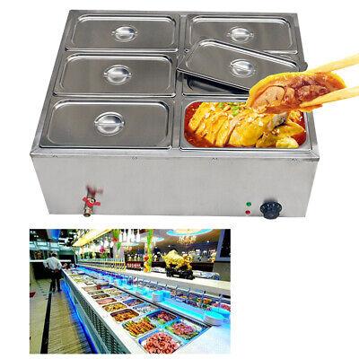 Electric Food Warmer Steam Table Steamer Bain-marie Buffet Countertop 6-pan New