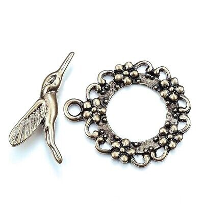 2 sets Antique Silver Pewter Hummingbird Wreath Bird Flower Toggle Clasp 30mm  Antique Silver Toggle Clasp
