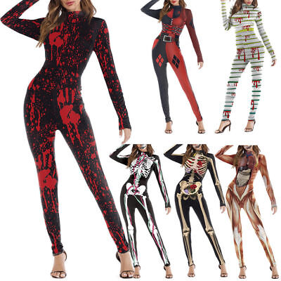 Women Skeleton Bone Frame Jumpsuit Bodysuit Halloween Cosplay Fancy Dead Costume