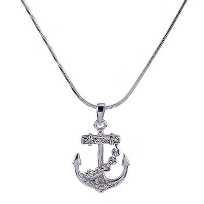 Anchor Charm Pendant Fashionable Necklace - Sparkling Crystal - 18