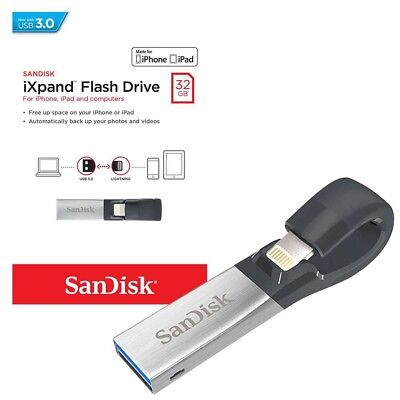 32GB SANDISK IXpand USB Flash Drive USB 3:00  for iPhone and iPad  NEW UK