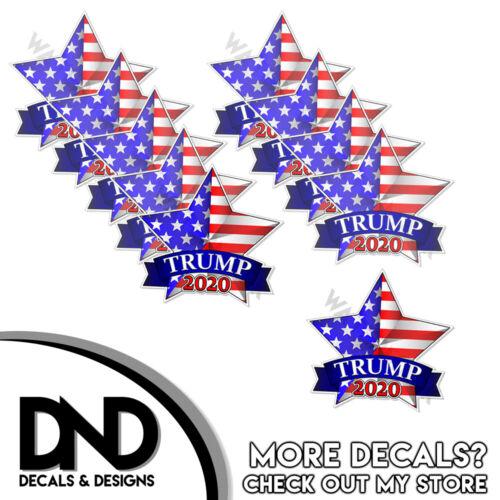 "Trump 2020 Decals Helmet Stickers Keep America Great Star Pro Trump 2"" - 10 Pack"