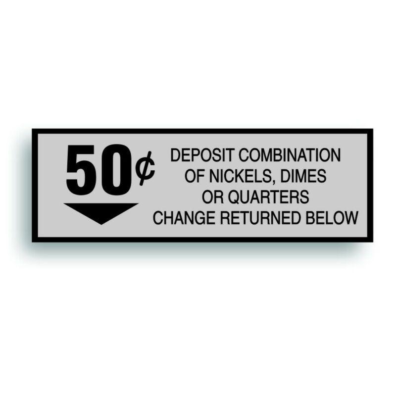 Vending Machine 50 Cent Decal fits Vintage Soda Pop Soft Drink Coin Change Slot