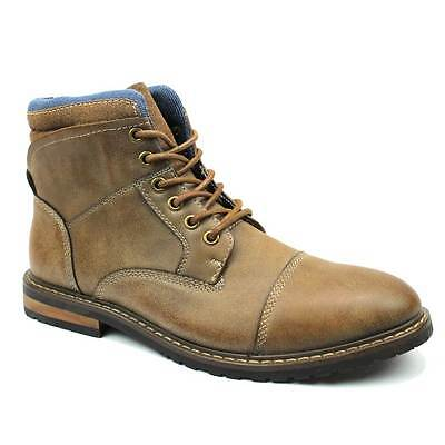 Mens Boot Tan Brown Ankle Cap Toe Derby Modern Lace Up Round Toe By AZAR MAN