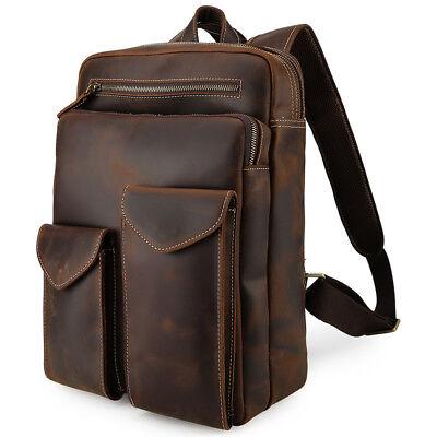 Retro Top Grain Leather Backpack Men Travel 14