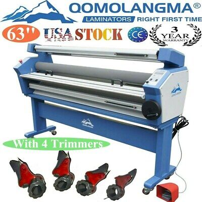 Us 110v 63 Auto Wide Format Heat Assisted Cold Laminator With 4 Cutter Trimmer