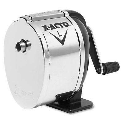- X-Acto 1041 Model l table- or wall-mount pencil sharpener, chrome receptacle, bl