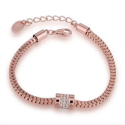 Damenarmband Zirkonia Kristall Anhänger Schmuck Armband Kette Rose Gold