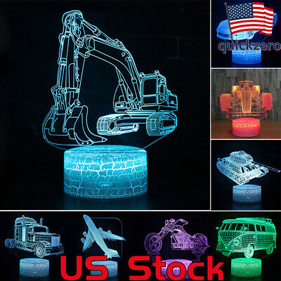 3D Night Light Car Series LED Table Desk Lamp Home Decoration Kids Xmas Gift (Night Light Ornament)