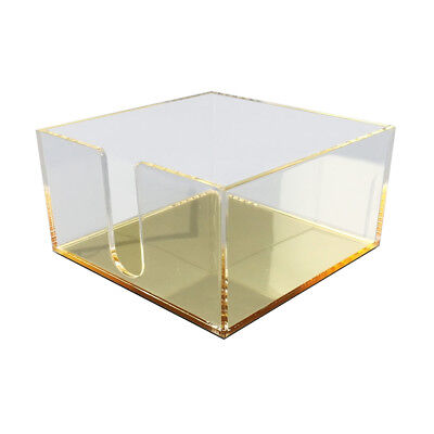 New Deluxe Desktop Acrylic Post It Note Tray - Clearmirror Gold Organizer