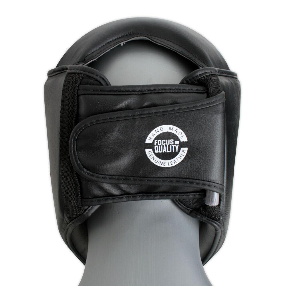 Kopfschutz  Leder mit  Gitter Gesichtmaske schwarz   Waffentraining
