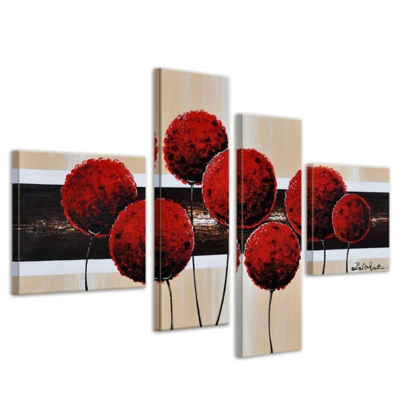 Blumen+M3+-+Leinwandbild+4+teilig+100x70cm+Handgemalt