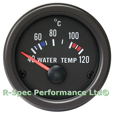 52mm Black Face / Clear Lens Water Temp Temperature Gauge Kit - With Sensor