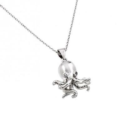 Sterling Silver Necklace w/ CZ Stones 3D (3 Dimensional) Octopus Pendant 3 Stone Sterling Silver Necklace